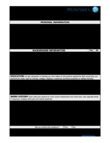 McAirlaid's US Employement Application FS